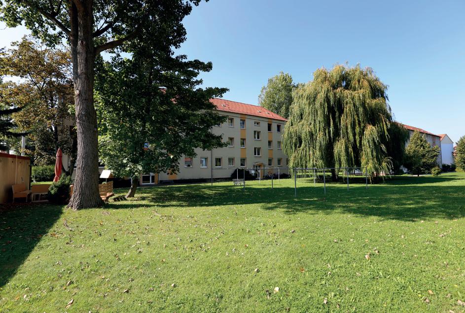 Mietwohnungen mit ringsherum grüner Wiese