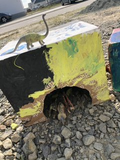 Dinohöhle aus einem Karton